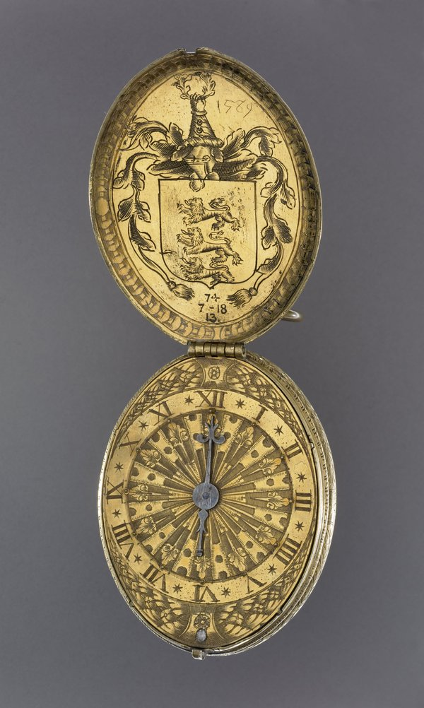Oval cased gilt-brass verge watch by Ghylis van Gheele, London, 1589. (Reg.no. 1974,0718.13) © The Trustees of the British Museum