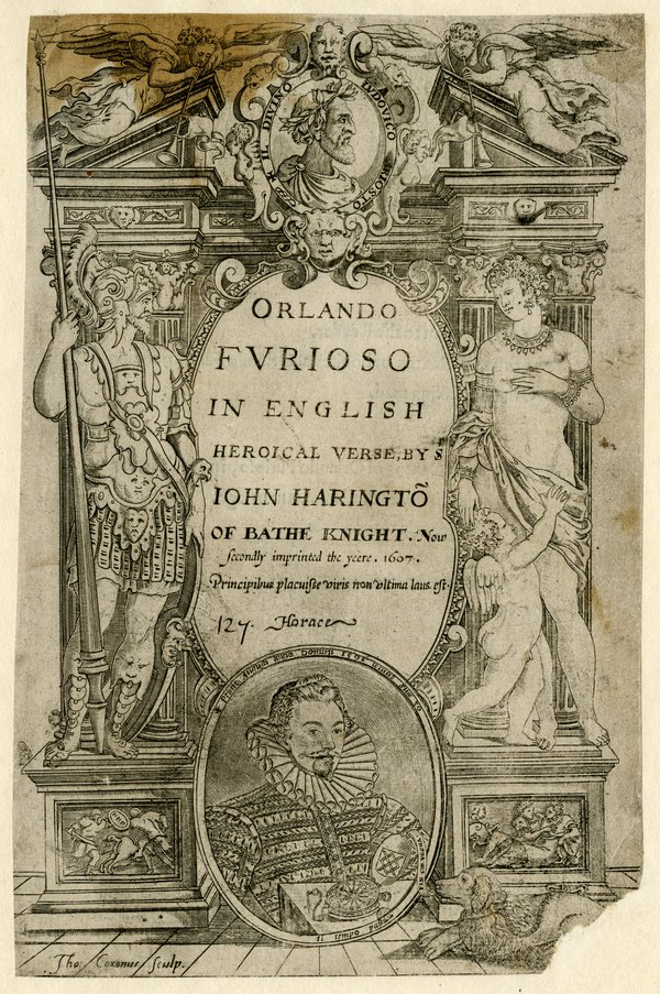 Title-page from John Harington 'Orlando Furioso in English Heroical Verse', 2nd edition, London, 1607. (reg.no Prints & Drawings 1895,1031.288) © The Trustees of the British Museum