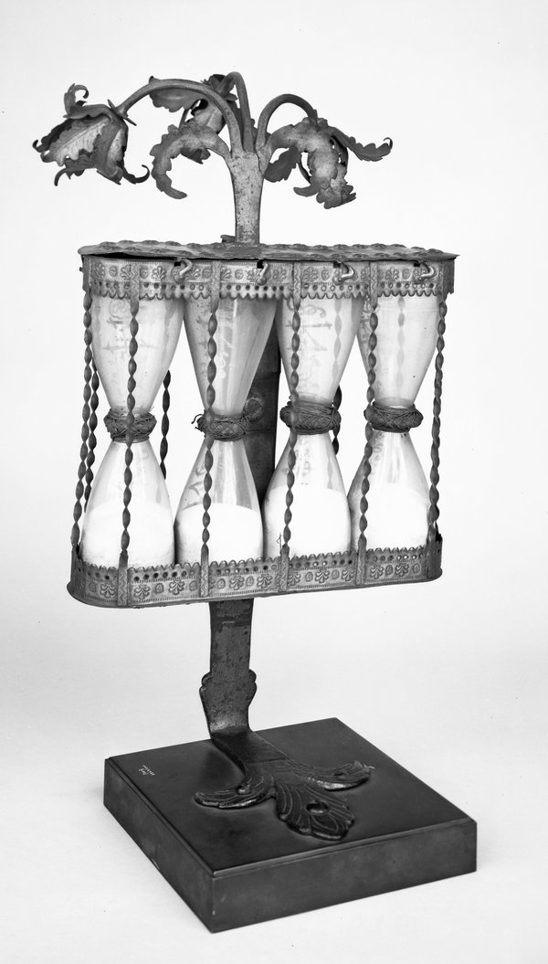 A German multiple glass, dating from c.1750 (British Museum No. 1958,1006.2459).  A type often referred to as a pulpit timer from their use for timing sermons