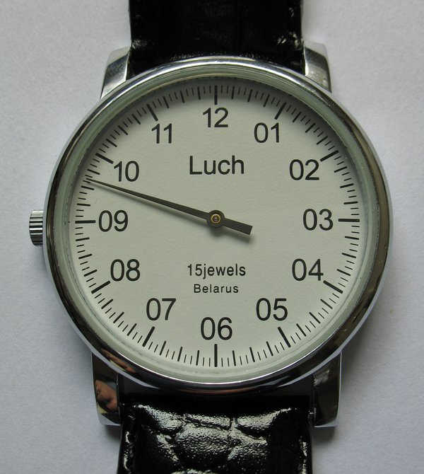 Wristwatch with single hand, Luch, Belarus, c.2012
