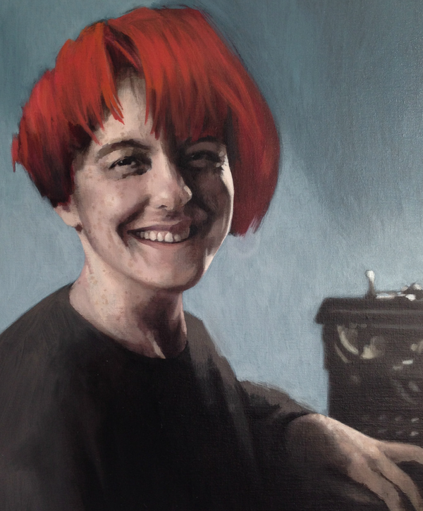 Lisa Jardine, by Claerwen James, commissioned by Jesus College, Cambridge, recognizing the significance of the vote to admit women fellows back in 1976.  ©2015 Claerwen James/Flowers Gallery