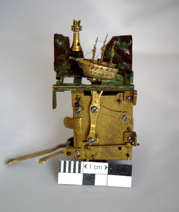The musical ship automaton mechanism before restoration (photo courtesy of Brittany Cox)