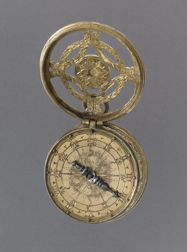 Tambour cased timepiece, Germany, ca. 1550 - 1570 (British Museum No. 1958,1201.2203).  Note the touch pins at the hours, allowing the time to be read unsighted, perhaps in darkness or perhaps under the tactfulness of one's robes
