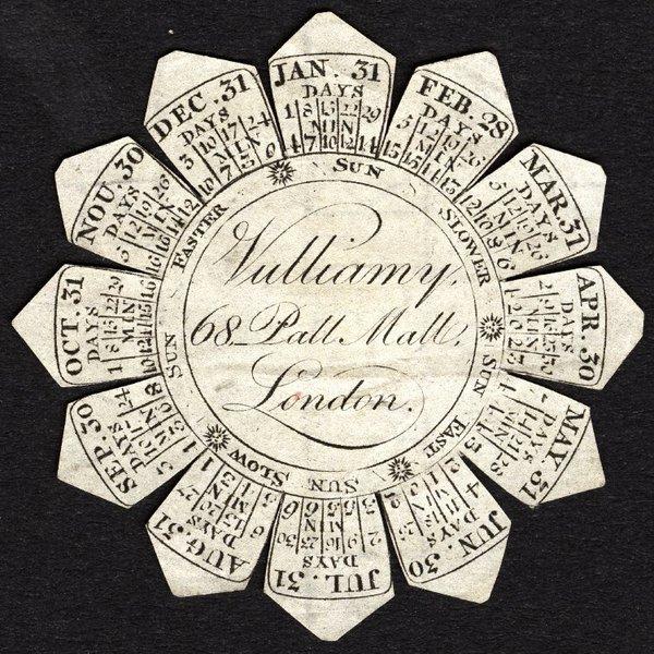 Watch paper of Vulliamy, Pall Mall, London, c. 1820 ©British Museum, Ilbert Collection, reg.no, 1958,1006.3395.e