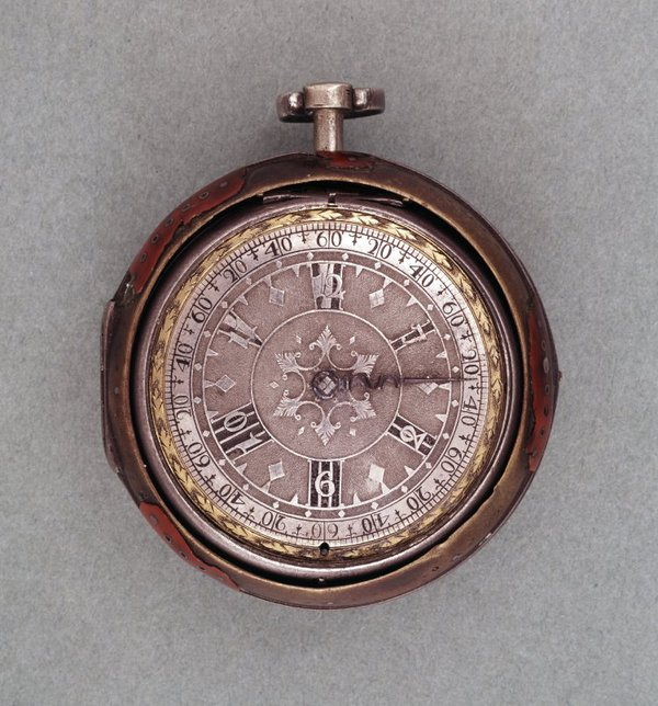 A silver and tortoiseshell pair-case verge watch with six-hour dial, Francis Stamper, London, 1690-1700 (British Museum No. 1958,1201.481).  The dial requires the user to know which quarter of the day they are present in.  However, the basic concept is not unfamiliar - we all accept the standard twelve-hour dial which requires us to know the half of the day