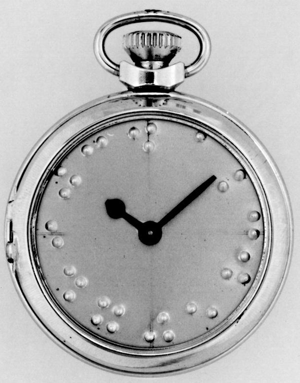 Watch with braille indication and pin-pallet escapement, made by Anglo-Celtic Watch Company in Ystradgynlais, Wales c.1952. open glass  (British Museum, reg. No. 1983,1012.104)