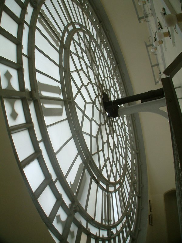 Behind a dial of the Westminster clock