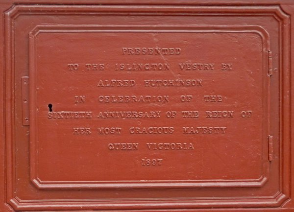 Plaque on the Jubilee clocktower at Highbury, Islington