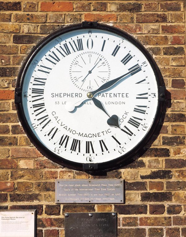 The Shepherd gate clock at the Royal Observatory is set permanently to GMT