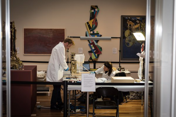 Pop-up conservation workshop, The Burton Gallery, York Art Gallery (photo courtesy of York Museums Trust)