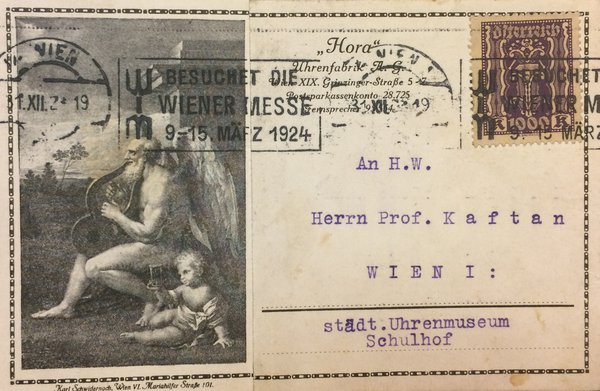 Correspondence card from Satori to the museum director Kaftan (front)