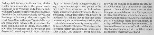 Editorial in the Guardian of 23 August 2013 calling for a clock tsar