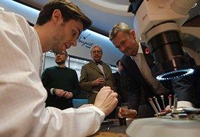 A breguet watchmaker shows onlookers a modern release (Photo Yarek Baranik)