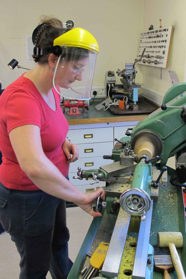 MA-Student-Francoise-Collanges-turning-boxwood.-Rubber-hammer-at-the-ready