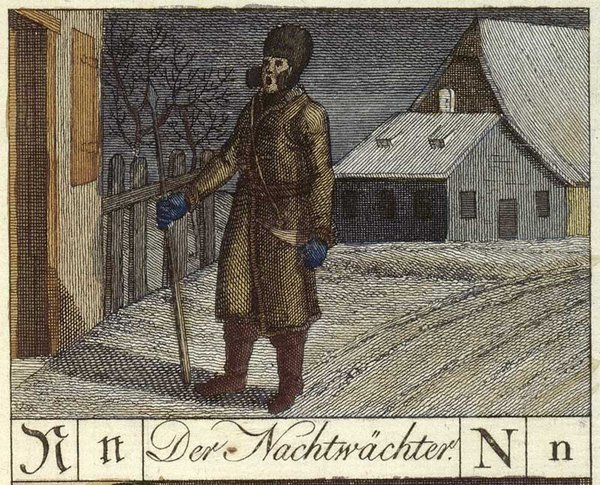 Der Nachtwächter from a German word spelling book, 1799