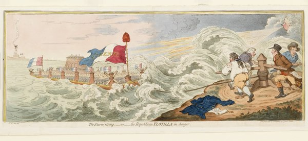 Gillray's print showing the 'Republican flotilla in danger' © NMM Ref. PW3949