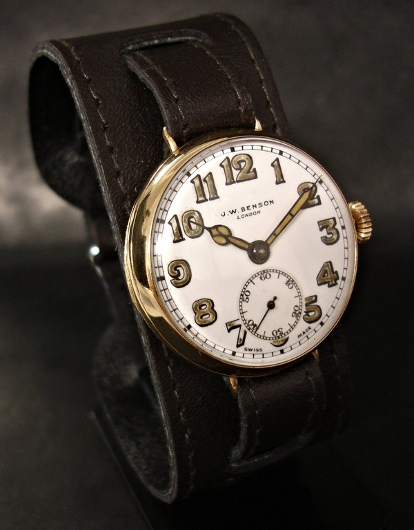 1930s 9ct gold Dennison cased JW Benson trench watch on a cuff strap