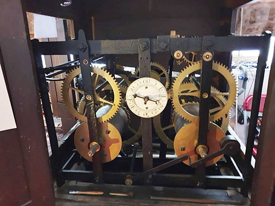 The cage frame clock at St James Garlickhythe, possibly by Thomas Tompion. Photo Ian Coote.