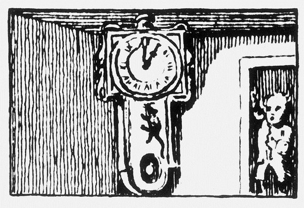 The mouse ran up the clock (woodcut from unidentified publication, probably 18th-century)