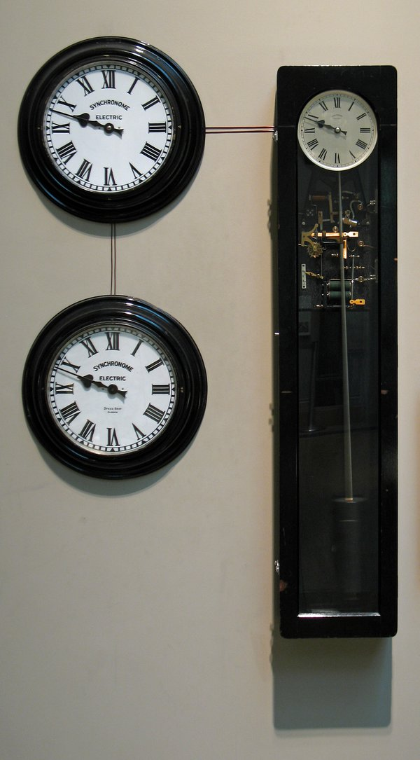 The mechanical pendulum of this Synchronome master clock is kept going by an electrical device.  Synchronome Clock Company Limited, London, c.1948 (British Museum reg. No. 2008,8023.1)