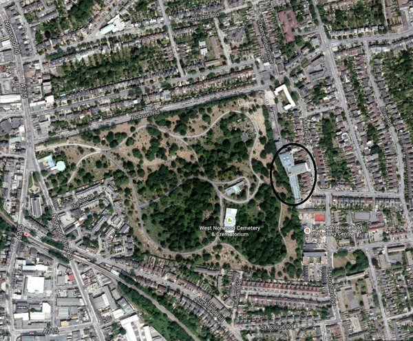 West Norwood cemetery, Hollingsworth Works circled
