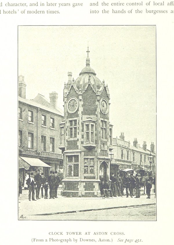 """Clock tower at Aston Cross"" from Robert Dent, The Making of Birmingham, 1894 (British Library)"