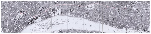 Details from John Roque, Plan of the Cities of London and Westminster and Borough of Southwark…, 1747. The eastward route of the correspondent of the Athenian Mercury, and the nine numbered locations, from Covent Garden [1] to the Royal Exchange [9], are indicated in red (click on image to expand it)