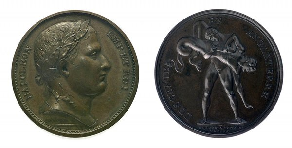 Sample medals to celebrate the invasion. Reverse marked: frappe a Londres en 1804 © NMM Ref. MEC0831