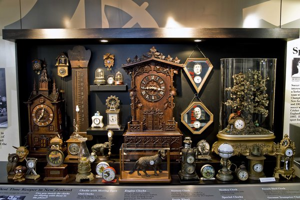 Claphams National Clock Museum, New Zealand started with the private collection of  Archibald Clapham (1882–1963), whose sense of humour and his love for the unexpected or quirky is reflected in the type of clocks he collected. Not surprisingly, these included a Mouse clock (Photo courtesey Claphams National Clock Museum, New Zealand)